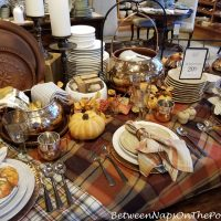 Fall Dining, Plaid throw as a tablecloth