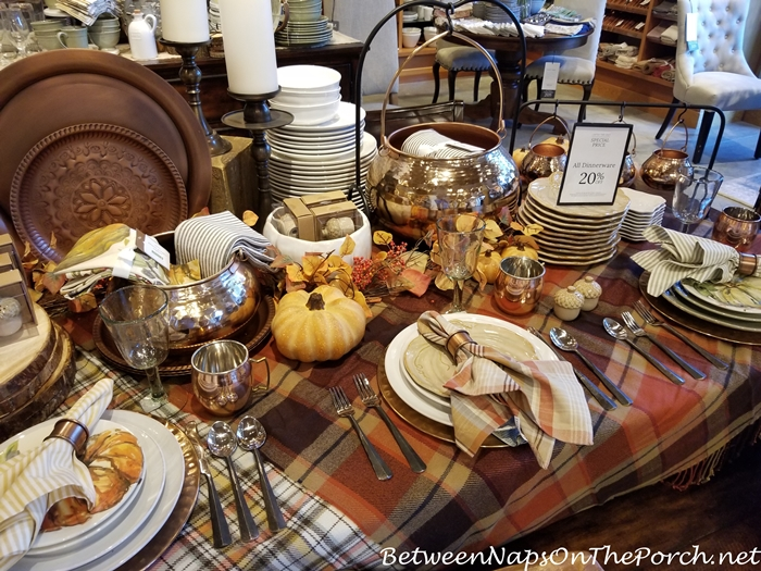 Fall Dining, Plaid throw as a tablecloth