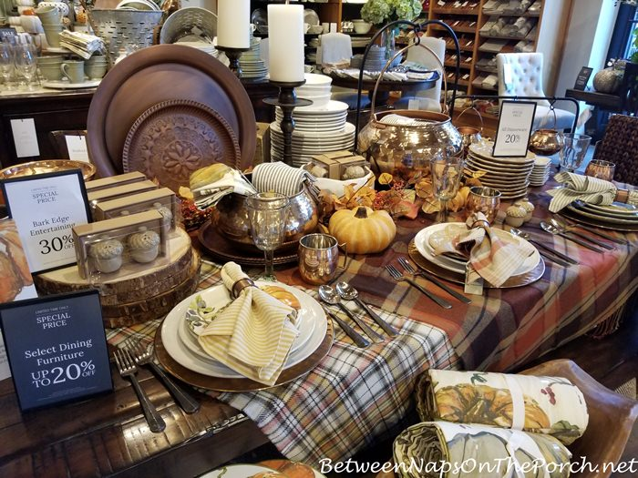Fall Table Setting with Plaid Tablecloth-Throw