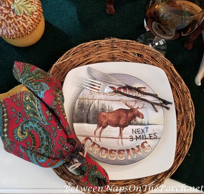 Moose Crossing Plate, David Carter Brown Country Lodge Dinnerware