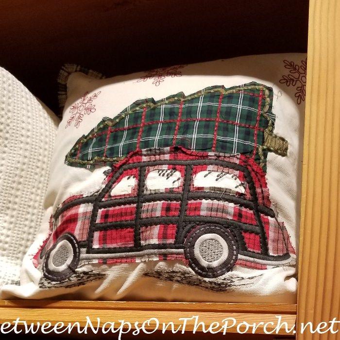 Plaid Woody Car Pillow