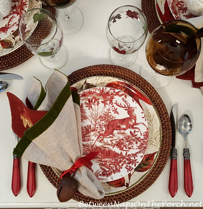 Red and White Deer Plates for Fall Dining