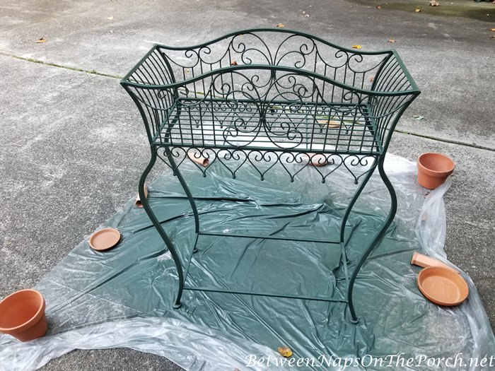 Rusted Plant Stand Painted with Green Paint