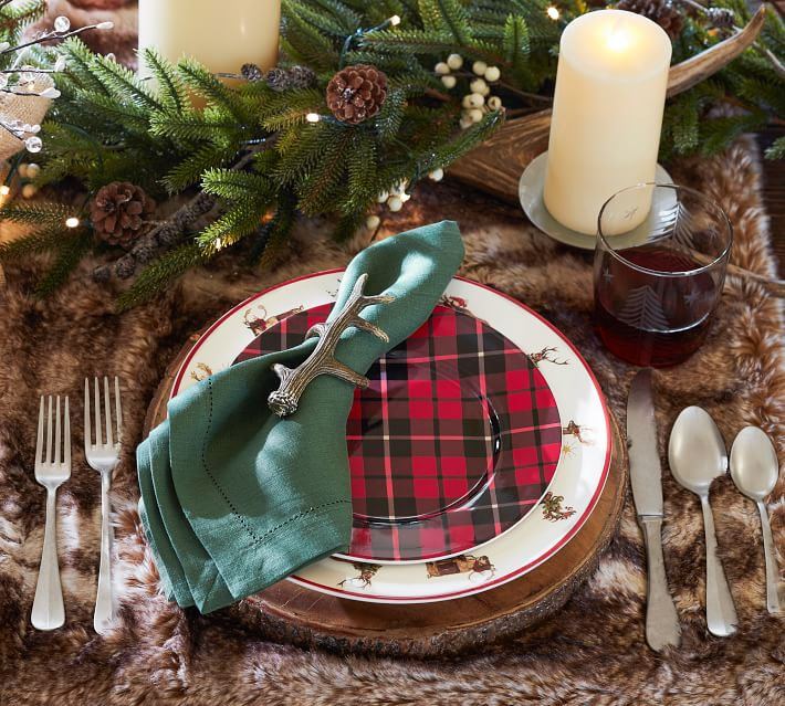 Bark Edge Charger for Thanksgiving or Christmas Table Setting