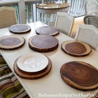 Found: The Perfect Bark-Edged, Wood Chargers for Woodsy Holiday Tables