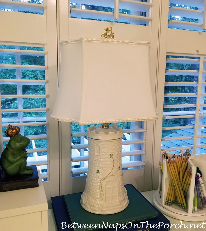 Belleek Castle Lamp with Griffin Finial