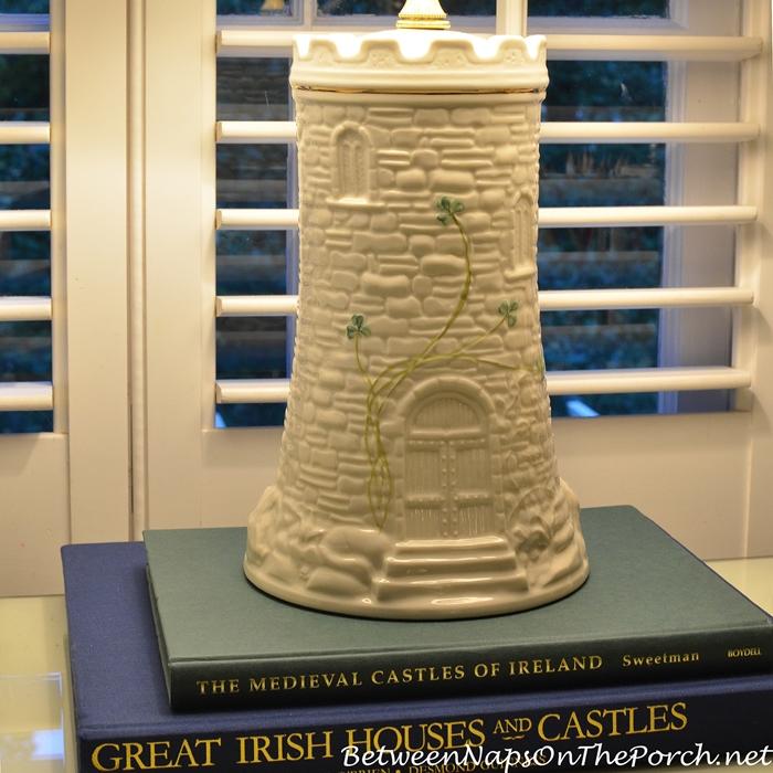 Belleek Pottery Castle Lamp