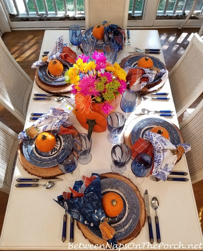 Blue, Orange, White Table, Autumn Tablescape