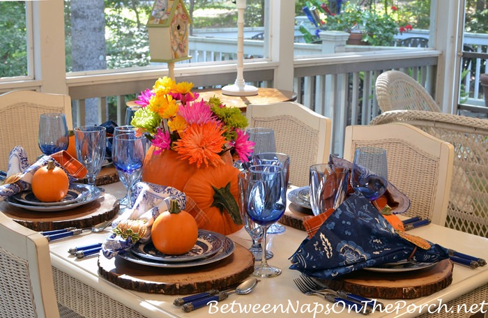 Blue, Orange & White Tablescape with Pumpkin Floral Centerpiece