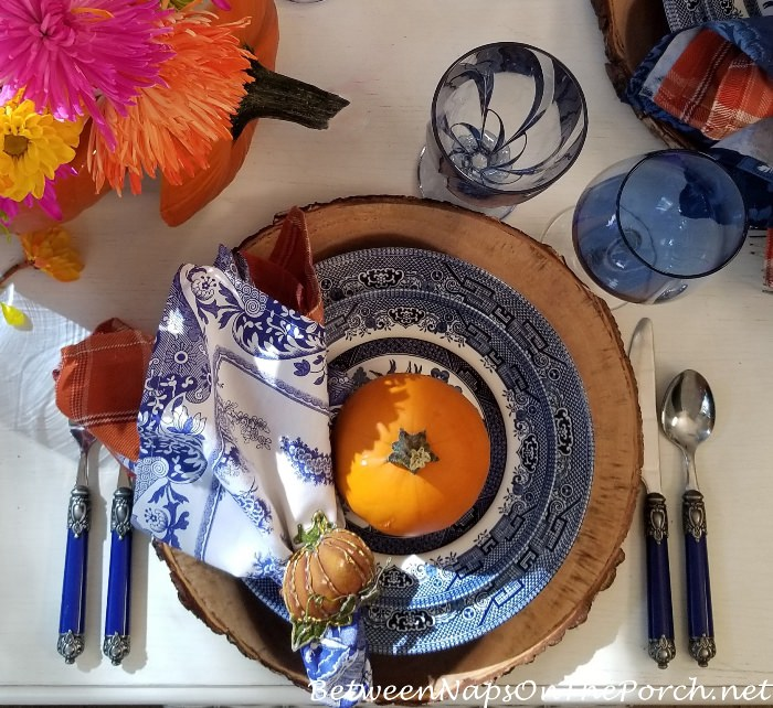 Blue Willow, Bark Edge Chargers, Pumpkins for Fall