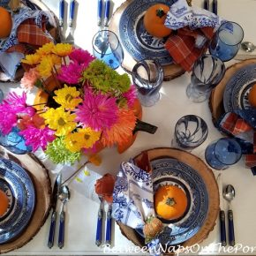Blue Willow for Fall Autumn Table, Orange Accents
