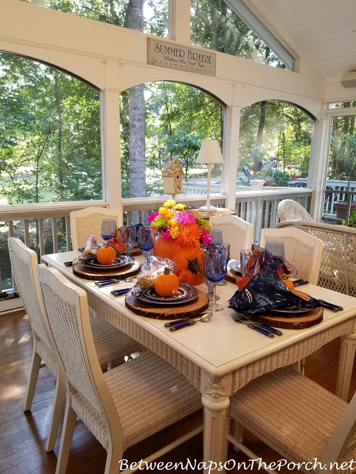 Blue and Orange Fall Halloween Table Setting