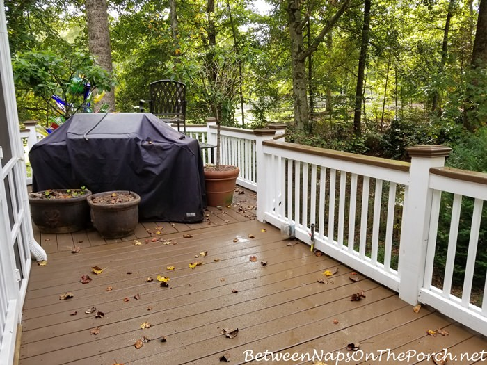 Deck Before and After, Staining & Painted Railing
