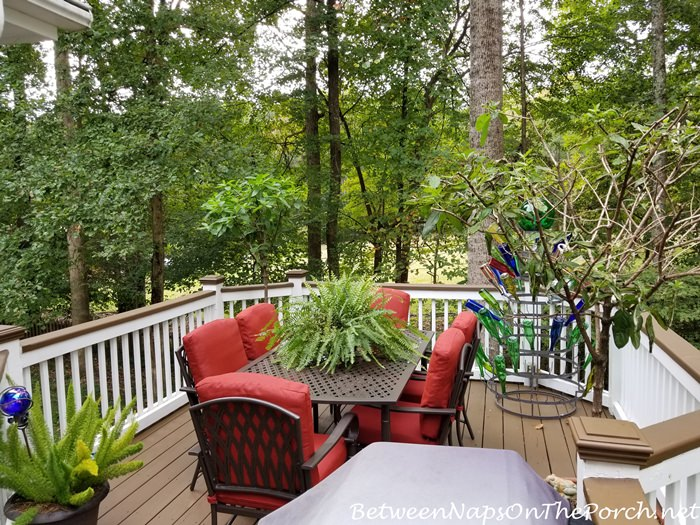 Deck Makeover with Painted Deck Rails, Hampton Bay Oak Cliff Furniture