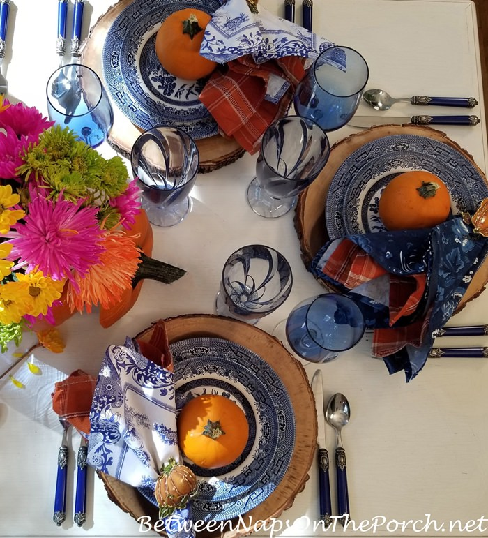 Fall Table, Blue Willow, Bark Edge Chargers