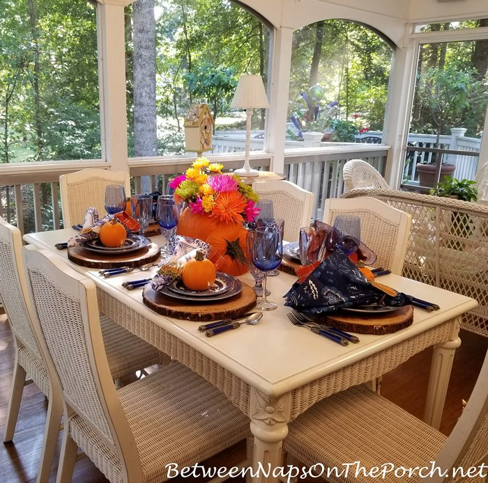 Fall Table with Pumpkin Floral Centerpiece
