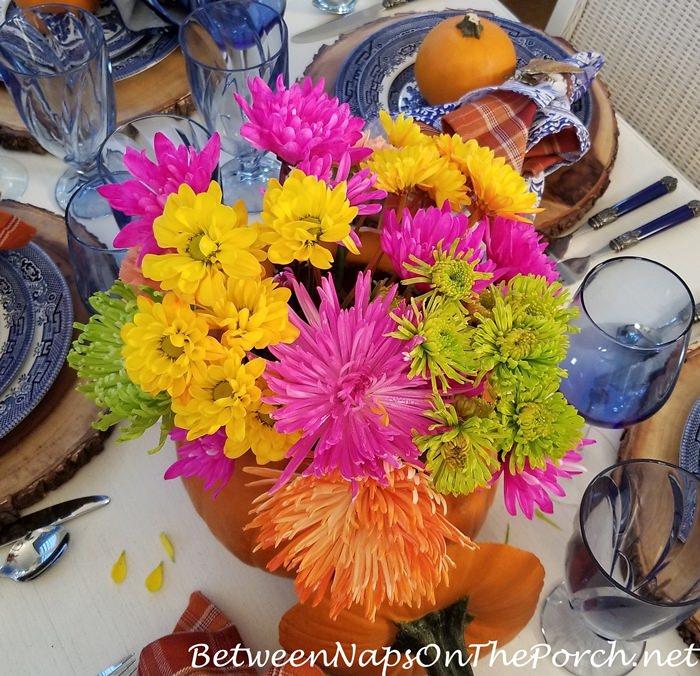 Floral Centerpiece Inside a Pumpkin for Autumn