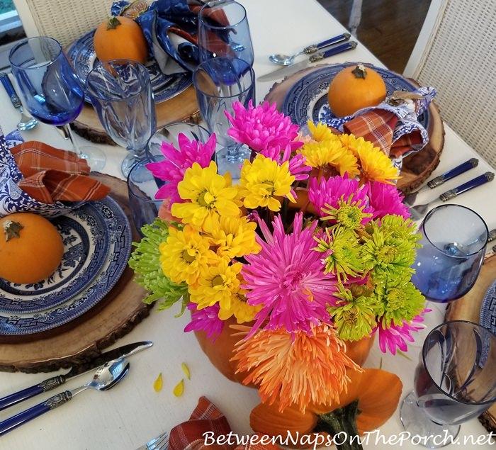 Floral Pumpkin Centerpiece for Autumn Table