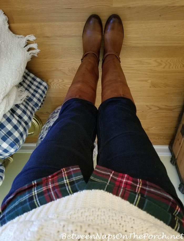 Frye Boots, Jeans, L.L. Bean Plaid Shirt, L.L. Fisherman Sweater