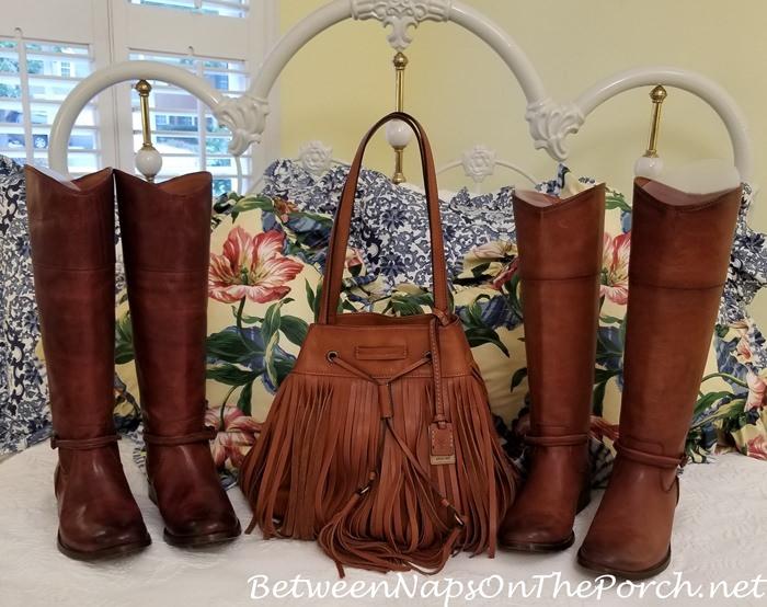 Frye Boots in Cognac and Brown, Frye Heidi Fringe Bag