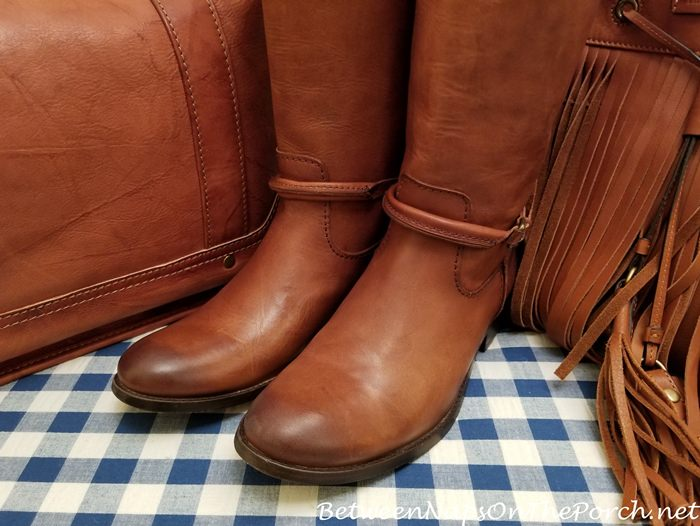 Frye Cognac Boots with Frye Heidi Whiskey Bag and Frye Totate