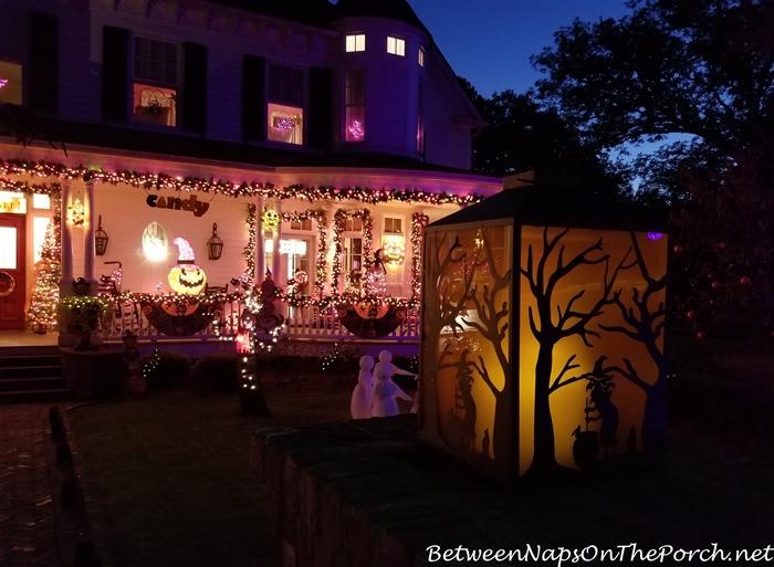 Halloween Lantern Lit Up at Night