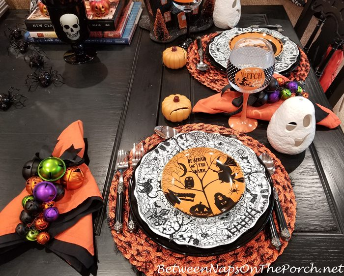 Halloween Plates for Halloween Table Setting, Witch Wine Glasses
