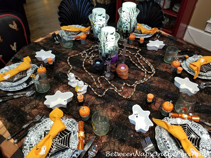 Halloween Table with Spiderweb Table Cloth