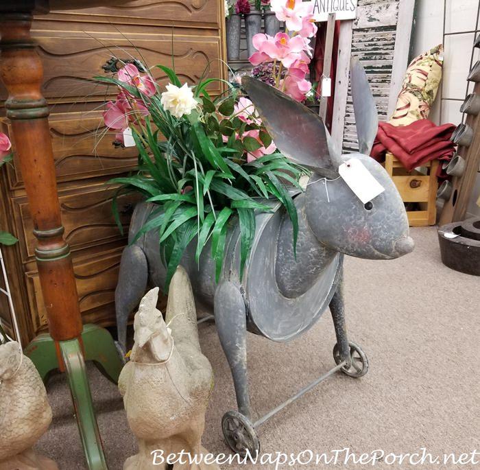 Large Bunny Planter, Metal