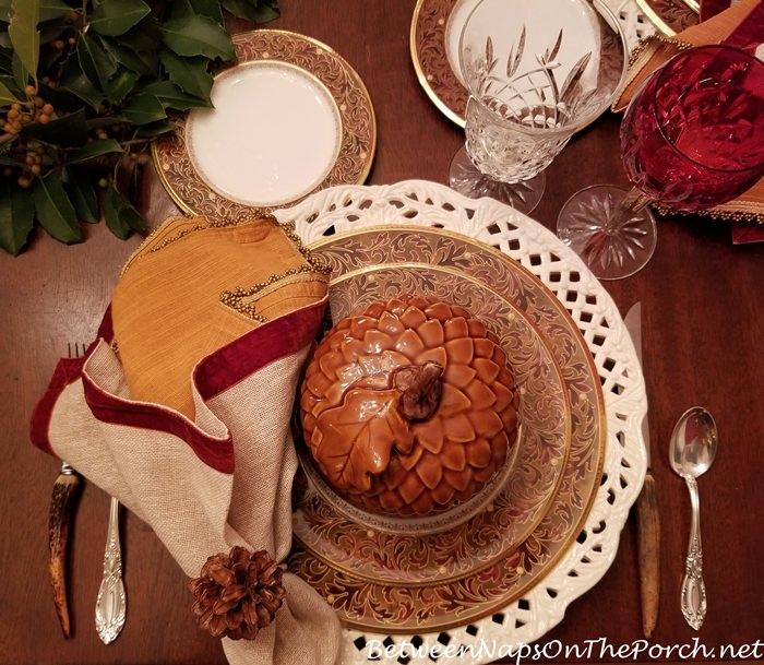 Noritake Xavier Gold, Acorn Soup Tureen, Pine Cone Napkin Ring