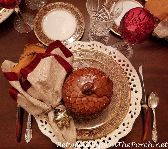 Noritake Xavier Gold, Pumpkin Soup Tureen, Mercury Glass Star Napkin Ring