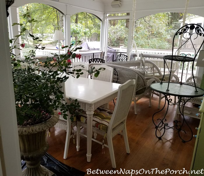 Screened Porch with Deck Furniture During Deck Makeover