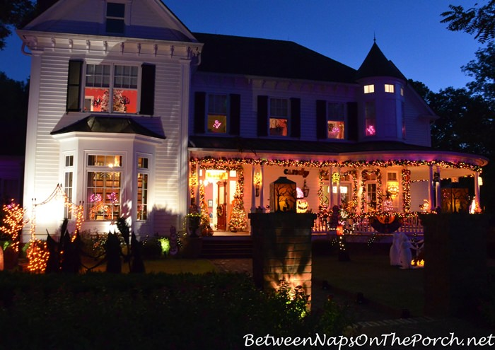 Victorian Home with Halloween Lights