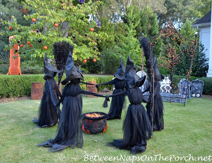 Witches on the Lawn for Halloween