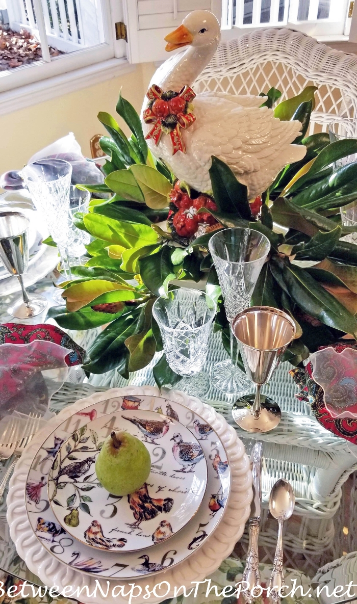 12 Days of Christmas Table, Goose & Magnolia Centerpiece
