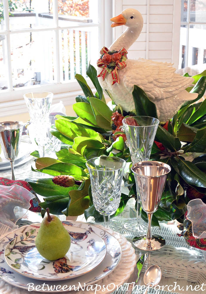 12 Days of Christmas Table with a Goose Magnolia Centerpiece
