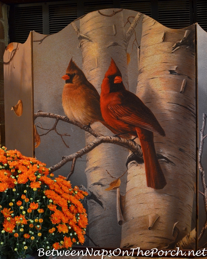 Autumn Fall Firescreen Depicting Cardinals and Birch Tree