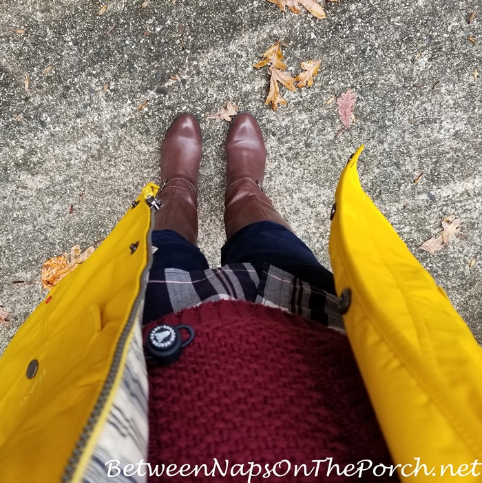 Barbour Rain Coat, L.L. Bean Fisherman Sweater, Ralph Lauren Boots, Talbots Jeans