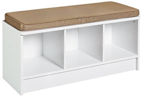 Bench with storage, for putting on shoes and boots