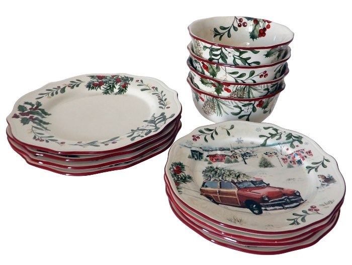 Better Homes & Gardens Christmas Dinnerware with Woody Car