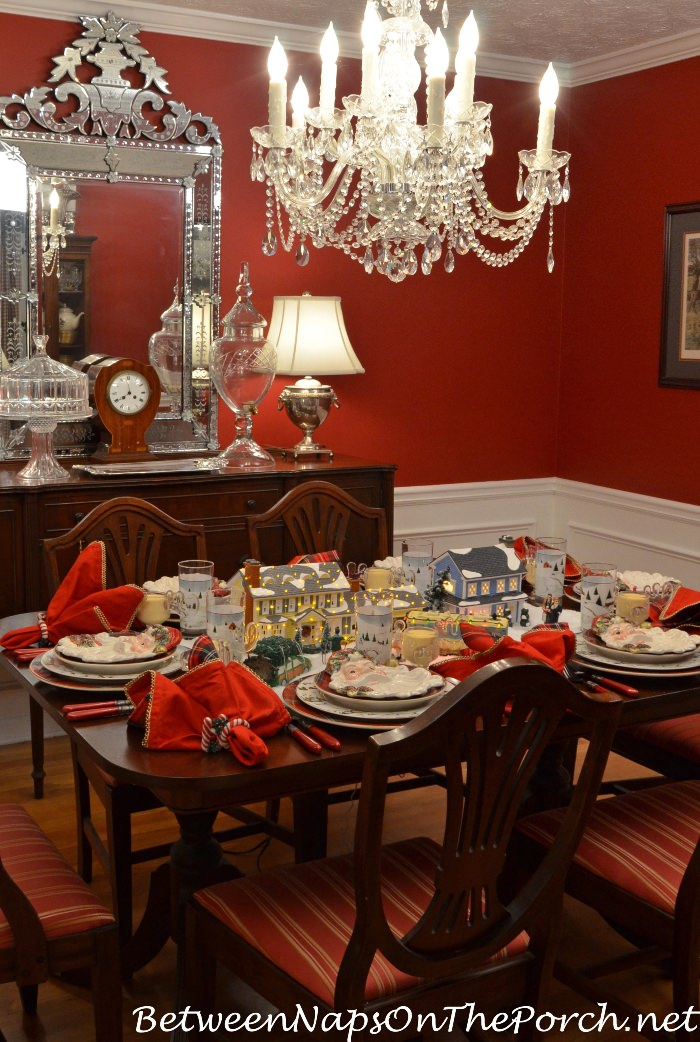 Christmas Vacation Table Setting with Dept. 56 Lit Houses