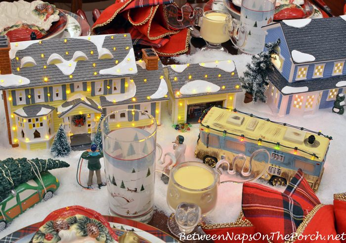 Christmas Vacation Tablescape with Moose Mugs & Dept. 56 Lit Houses
