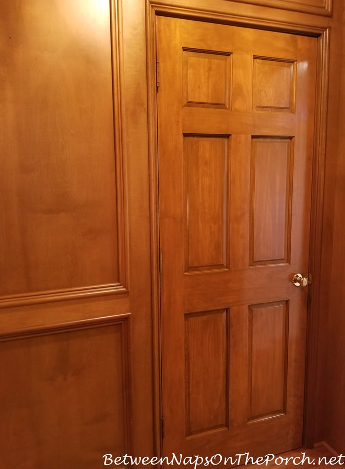 Door Stained to Match Paneled Living Room Walls