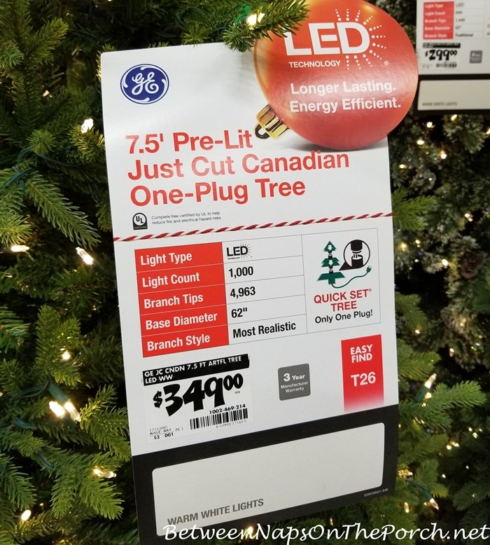 GE Pre-lit Just Cut Canadian Christmas Tree