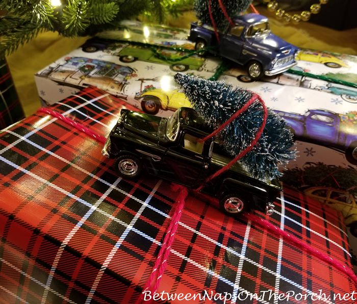 Gift Wrapping Idea, Chevy Truck Toy Bringing Home Christmas Tree on Plaid, Tartan Paper