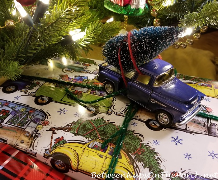 Gift Wrapping Idea, Chevy Truck with Christmas Tree on Christmas Vacation Paper