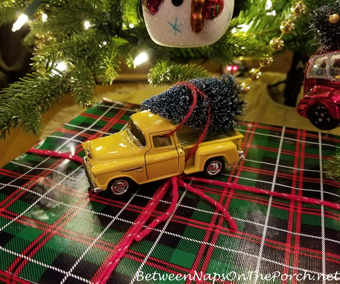Gift Wrapping Idea, Toy Chevy Truck with Christmas Tree on Tartan Plaid Paper