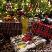 A Decorated Tree & Whimsical, Fun Gift Wrapping Idea