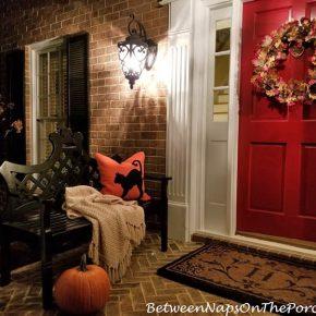 Halloween Porch, Black Cat Pillow, Ballard Designs