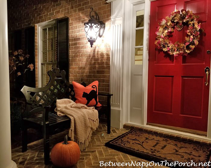 Halloween Porch, Black Cat Pillow, Ballard Designs